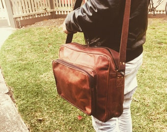 Leather bag, Leather satchel, Carry-on bag, Leather Luggage