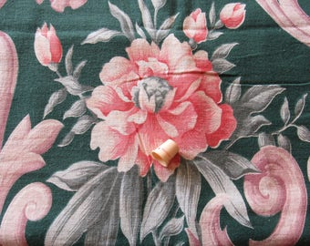 pink bouquets on green floral print vintage cotton home decor fabric panel -- 44 wide by 64 long