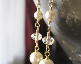 Three Tier Swarovski Pearl and Crystal Earrings...Gold filled...FREE SHIPPING