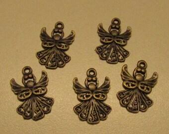 D-02119 - 5 Pendants Angel ant. bronze