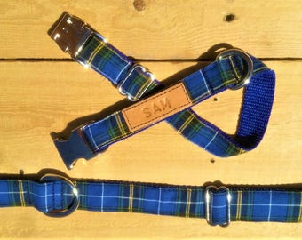 The Blue Tartan Collar, engraved dog collar, custom blue dog collar, dog collar with name plate, tagless dog collar, engraved leather collar