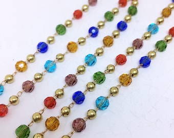 2 Yards Colorful Transparent Faceted Glass Rondelle Beaded Chain Oval Link Bead