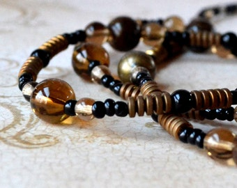 Long Earth Tone Beaded Necklace Neutral Handcrafted Brown Agate Black Bronze Glass Fashion Boho Chic Jewelry Paisley Beading FREE Shipping