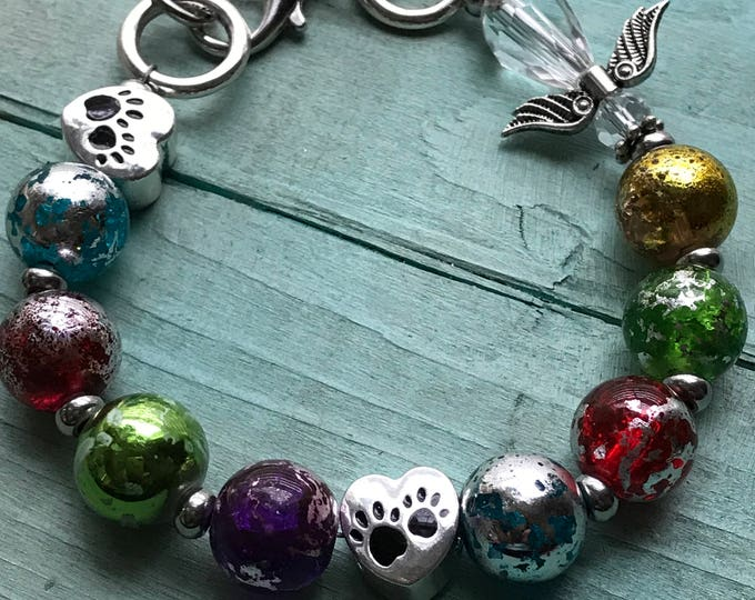 Rainbow bridge glass bead pet loss Memorial with angel personalized