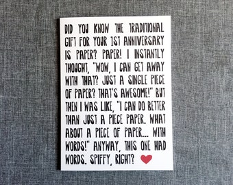 Funny First Anniversary  // Single Card // Greeting Card // GC0101