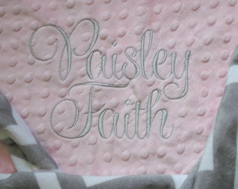 BABY GIRL Personalized Minky Blanket