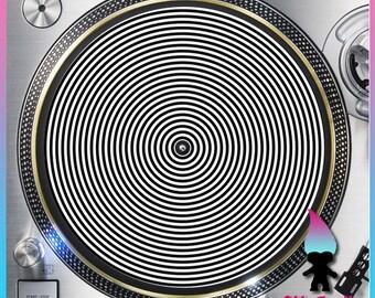 """Hypnosis Black and White Turntable Slipmat - 12"""" LP Record Player, DJ Slipmat- 16oz Felt w/ Glazed Bottom"""