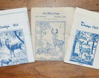 Vintage Deer Wall Hanging Picture Hot Iron Transfers Lot of 3