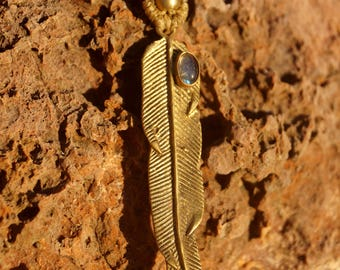 Necklace brass feather and Labradorite
