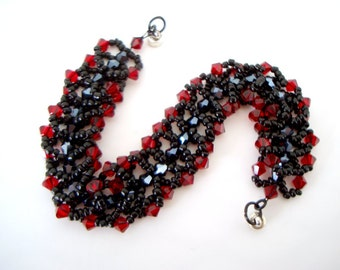 Red and Black Beaded Magnetic Flat Spiral Bracelet with Swarovski crystal bicones, Czech glass bicones and seed beads