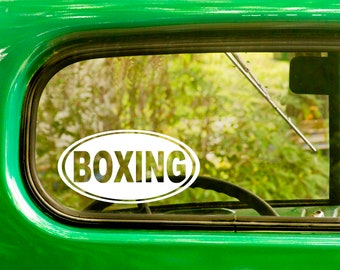 2 BOXING Oval Decals, Boxing Sticker, Fighting Sticker, Laptop Sticker, Oval Sticker, Bumper, Car Decal, Vinyl Decal, Car Sticker
