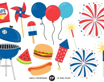 50% OFF SALE! 4th of July Clip Art, BBQ Clipart, Barbecue Clip Art - Commercial Use, Instant Download