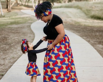 Bow African Maxi Mommy and Me Skirts, Mothers Day, Head Wraps, Ladies Skirt, Girls Skirt, African Clothing, Girls Clothing