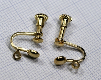 Earring hook with holder 10 pairs (20 pcs)  12 mm gold plated  brass 1394G