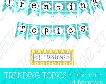 Trending Topics Banner, Trending Topics, Twitter Inspired, Twitter, Social Media, Twitter Banner, Topics Banner, Social Media Banner, Tech