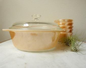 Vintage Fire King Peach Lustre, 1 Quart Casserole Dish