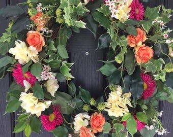 Front Door Wreath, Spring Wreath, Summer Wreath, Front Door Decor