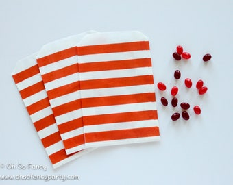Orange Striped Favor Bag / Orange Favor Bag / Orange Treat Bag / 12 bags / Orange Goody Bag