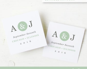 Printable Wedding Favor Tags   INSTANT DOWNLOAD   Mint Type   Word or Pages   Easy DIY   2x2   Editable Artwork Colors