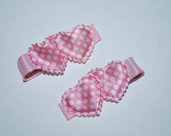 Pink Polka Dot Hearts Hair Clips - Buy 3 Items, Get 1 Free