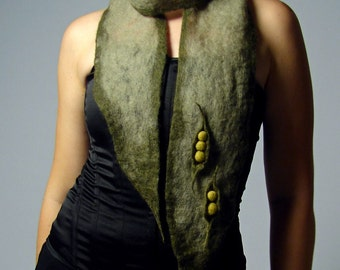 Sweet Pea Eco Fashion Felted Scarf -- Wearable Art in Harmony with Nature