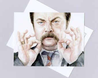 Ron Swanson Card Postcard, Parks and Rec funny card, watercolor painting, Parks and Rec Art, Ron Swanson Portrait Mustache