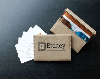 Personalized Business Card Holder, Custom Business Card Holder, Engraved Business Card Holder, Leather Business Card Holder --BCH-LLB-ETCHEY