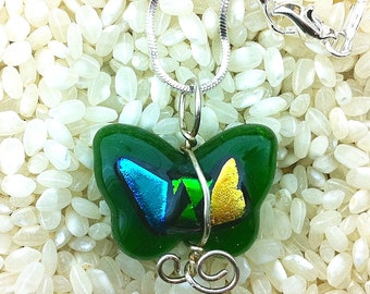 Green Glass Butterfly Necklace Sterling Silver Wire Wrapped Art Glass Butterfly Shape with Metallic Dichroic Glass Detail with Chain 17.5""