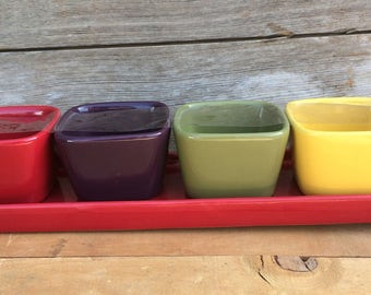 Dining 4 Bowl Set with Tray Serving Dish Ceramic Bowls with Rectangle Tray Set Appetizer Servers