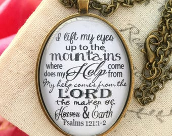 Psalm 121:1-2 Bible Verse Pendant Necklace