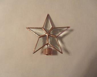 Tiny Four Inch Star Rosemary Bust Topper, Bottle Brush Topper, Table Top Star in Beveled Glass