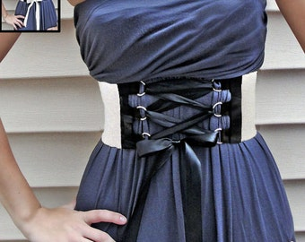 Corset Belt White/Black Wide Elastic with D-ring Trim satin or faux suede