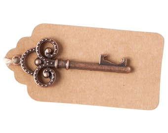 50 Key Bottle Openers with Tags & Twine, Antique Copper Vintage Skeleton Keys, Wedding Decorations and Party Favors, Steampunk, Trinity