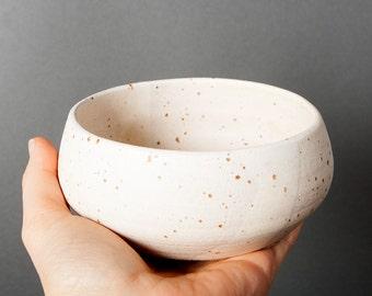 Danish bowl, Breakfast bowl, Sauce dressing bowl, White beige bowl, Handmade bowl, Dessert bowl, Gift for her, Farmhouse bowl, Speckled bowl