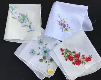 Set of 4 Vintage White Ladies' Hankies with Embroidery Flowers in Variety of Colors