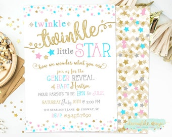 Twinkle Twinkle Little Star, Gender Reveal Invite, Gender Reveal Party, Pink or Blue Star Invitation, Printable Invite, Twinkle Reveal Party
