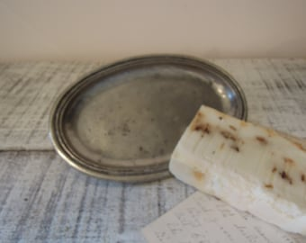 Vintage Pewter Soap Dish / Oval Dish / Oval Dish Pewter / Pewter Trinket Dish
