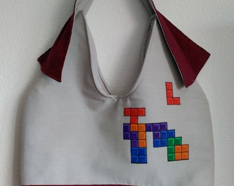 "Grey bag & canvas Garnet made and hand-painted ""tetris"""