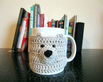 Light Brown Bear Mug Cosy, Crochet Cup Cosy, Mug Warmer, Gift for Her, Easter Gift, Coffee Cup, Gift for Women, Cup Holder, Cute Gift
