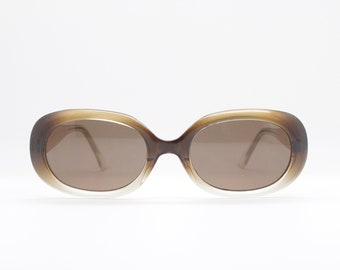 90s vintage sunglasses. Oval brown dense marbled frame with gold highlights. 60's style design. Original NOS. BNWT. Club kids. Rave. Mod.