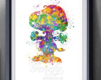 Snoopy Peanuts Watercolor Poster Print - Wall Decor - Watercolor Painting - Watercolor Art - Kids Decor- Nursery Decor