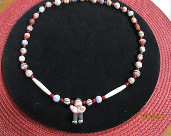 Hand Made Necklace  with little Indian Boy with Braid - Not Native Made
