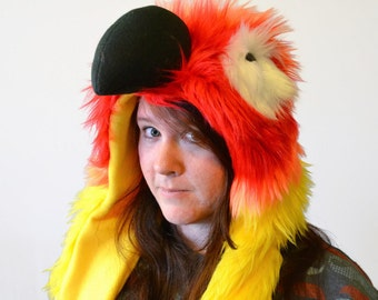 Sun Conure Scoodie. Spirit Hood. Parrot Costume. Bird Hat.
