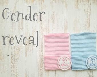 Gender Reveal hospital hats- baby girl hat, baby boy hat, newborn beanie, boy or girl, newborn boy, newborn girl, it's a boy, it's a girl