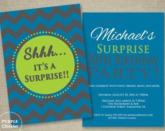 Surprise 30th Birthday Invitation Masculine Invite Blue Green Gray Party Invite Chevron invite Adult Party Invite 2 Sided Printable Invite