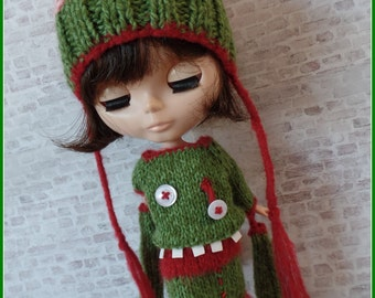 """PDF knitting pattern - Zombie dress and brains hat for 12"""" Blythe"""