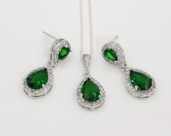 Emerald green crystal earrings and pendant, British royal  jewellery, cubic, bride pendant, silver, rose gold chain, bridesmaids gift,