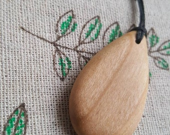 Handmade Cherry Tree Wood Pendant Necklace