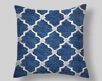 """Blue Pillow Cover, 18 """" Decorative Pillows, Denim Throw Pillow, Navy pillow ,Accent Pillows ,Throw Pillows, Home Decor, Home and Living Navy"""
