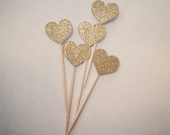 Gold Glitter Hearts Cupcake Toppers